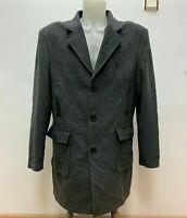 BURBERRY Brit Gr.L / XL KASCHMIR KANINCHENPELZ Herren langer Mantel Grau LOGO
