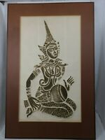 Buddhist Diva/Goddess VTG Art Hand Pressed Embossed & Colored On Rice Paper