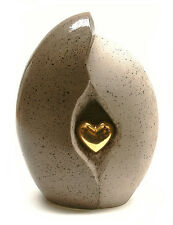 Natural Stone with Gold Heart Motif Cremation Ashes Funeral Urn - Small Size