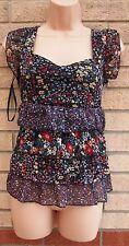 New York Laundry noir multi couleur floral ruffle blouse top t shirt tunique 12 m