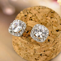 New 925 Sterling Silver 10MM Square Crystal Lab Diamond Cutting Stud Earrings