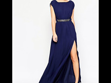 Embellished Waist Maxi Dress Navy Uk 12 RRP £65.00