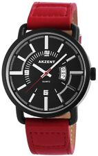 Men's Watch Black Red Date Analogue Quartz Metal Leather Modern G-7571000022750
