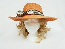 LADIES FORMAL HAT SALMON ORANGE, 'EMERSON' RACES, MILLINERY - PL582