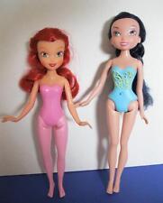 LOST TREASURE Disney NUDE FAIRIES PINK ROSELLA & Silvermist Black Hair Doll Lot