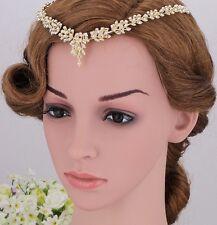 Bridesmaid Bridal Wedding Crystal Hijab Hair Piece Tiara Gold Plated