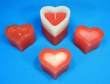 Vintage Heart Shaped Pillar Candles Lot Of 4