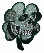 """Skull Clover Biker 4"""" Tall Embroidered Patch"""