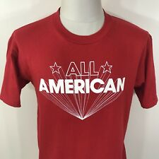 Vtg 90s Jerzees All American Red 50/50 T Shirt Men's M/L Tee 80s Soft Thin