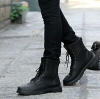 Mens Fashion High Top Round Toe Lace Up Military Shoes  Black Ankle Boots Size@