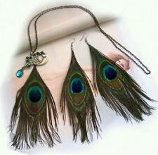 Fashion Jewelry Feather Earrings Set Peacock Feather Pendant Long Chain Necklace