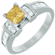 3.00 CT Fancy Yellow Princess Cut Diamond Engagement Ring GIA Certified 18k Gold