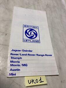 Jaguar Daimler Rover Triumph Morris MG Austin Mini catalogue brochure de vente
