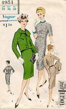 1950's VTG VOGUE Misses' Dress and Jacket Pattern 4951 Size 16 UNCUT