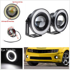 NEW  2 x2.5'' Angel Eyes Halo Car White Fog Light Lamp Projector DRL W/ COB LED