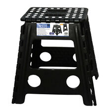 39cm Black Plastic Folding Step Stool Portable Chair Flat Indoor/Outdoor Home