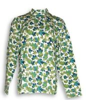 Denim & Co. Size L Long Sleeve Mock Neck Leaf Print Top Green A216541