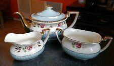More details for vintage gibson staffordshire blue floral guilt ware georgian teapot milk sugar
