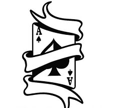 ACE OF SPADES WITH SCROLL CAR DECAL STICKER