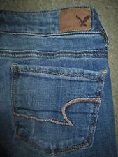 AMERICAN EAGLE Skinny Stretch Med Light Blue Denim Jeans Womens Sz 00 Reg x 30.5