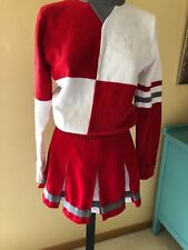 Dehen Red White Cheerleader Uniform Skirt Sweater Size Medium 9 Womens Juniors