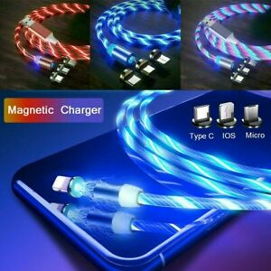 Glowing Flowing 3 in 1 LED Magnetic Phone Charger for Type C IOS Micro USB Cable