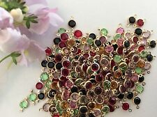 Rhinestone Connector 2 loop brass set Swarovski Mixed Colour 4.mm Pack 10 CRAFT