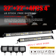 "32"" 30Inch LED Light Bar Combo+22in+4"" CREE PODS OFFROAD SUV 4WD ATV FOG JEEP US"