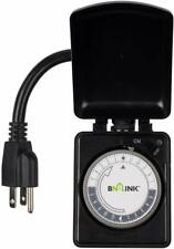 BN-LINK Compact Outdoor Mechanical 24 Hour Programmable Dual Outlet Timer