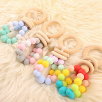 Baby Wooden Ring Silicone Beads Teether Rattle Teething Play Gym Montessori Toys