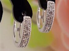 NUOVO Donna Argento CZ zircone cristallo Orecchini a Cerchio Regalo