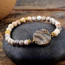 Gold Plated Galaxy Quartz Druzy Crystal Bracelet Howlite Stone Beads Bangle Boho