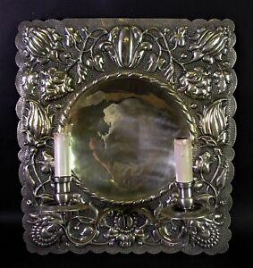 schöner alter WANDBLAKER um 1920 42x39cm - floraler Reliefdekor (Nr.4 von 4)