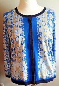 Very good condition! TALBOTS Cotton Cardigan-Plus 2XP-Blue Paisley