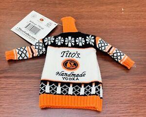NEW Tito's Vodka Mini Ugly Sweater for 750ml Bottle Black White Orange 80 Proof