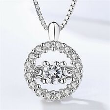 Real 925 Sterling Silver Round Dancing Crystal Pendant Necklace Elegant Chain