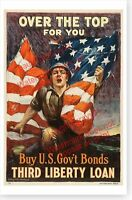 WWI Over The Top For You Doughboy With Flag 1918 Third Liberty Loan Poster