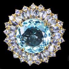 Handmade Round Swiss Blue Topaz 17mm Blue Tanzanite 925 Sterling Silver Ring 7.5