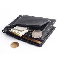 Men's Leather Slim Money Clip Wallet Front Pocket Credit Card Case Holder Q