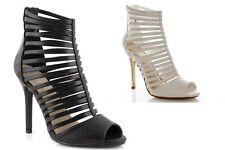 Sandali tronchetti donna spuntati neri bianchi con tacco alto gladiatore schiava