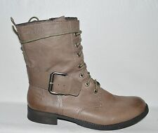 NINE WEST VINTAGE AMERICA COLLECTION 10 M GRAY LEATHER COMBAT MOTO LACE UP BOOTS