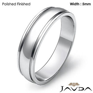Plain Dome Step Ring Men Wedding Solid Band 5mm 18k White Gold 5.4gm Size 9-9.75