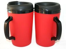 2 Foam Insulated 34 oz ThermoServ Travel Mugs Red
