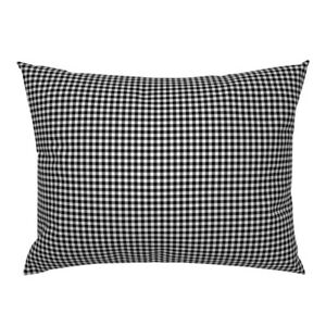 Gingham Check Plaid Black And White Greygingham Pillow Sham by Roostery
