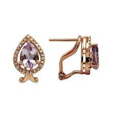 14K ROSE GOLD PAVE HALO DIAMOND PINK AMETHYST PEAR SHAPED TEARDROP EARRINGS