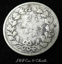 1893 Netherlands Silver 25 Cents Coin