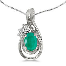 """10k White Gold Oval Emerald and Diamond Pendant With 18"""" Chain"""