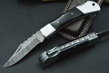 Taschenmesser XL Damastmesser Jagdmesser Messer Bowie Damast Büffelhorn TOP #19