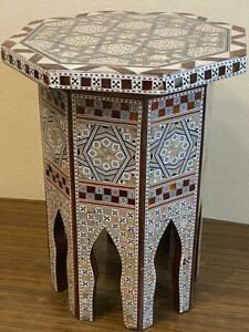 "Antique Handmade End Table wood Inlaid Mother of Pearl (9.4"")"