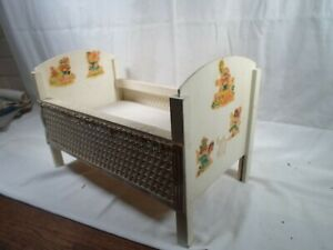antique toy doll bed with mattress